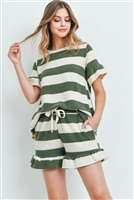 S12-4-4-PPP4034-OVIV - RUFFLE STRIPES TOP AND SHORTS SET WITH SELF TIE- OLIVE/IVORY 1-2-2-2