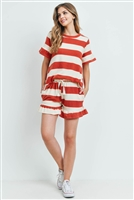S16-11-5-PPP4034-RSTIV-1 - RUFFLE STRIPES TOP AND SHORTS SET WITH SELF TIE- RUST/IVORY 1-2