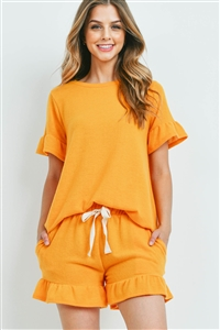 S9-10-4-PPP4035-ATPMU - SOLID RUFFLE TOP AND SHORTS SET WITH SELF TIE- APT MUSTARD 1-2-2-2