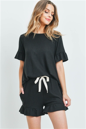 S14-10-2-PPP4035-BK-1 - SOLID RUFFLE TOP AND SHORTS SET WITH SELF TIE- BLACK 2-2-2