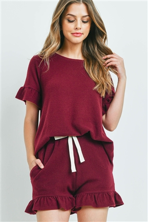 S14-10-2-PPP4035-BU-1 - SOLID RUFFLE TOP AND SHORTS SET WITH SELF TIE- BURGUNDY 1-1-1