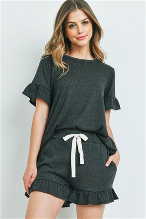 S14-10-2-PPP4035-CHL2T-1 - SOLID RUFFLE TOP AND SHORTS SET WITH SELF TIE- CHARCOAL 2TONE 2-1-1