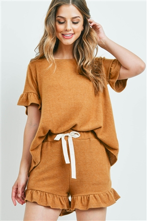 S14-10-2-PPP4035-CML-1 - SOLID RUFFLE TOP AND SHORTS SET WITH SELF TIE- CAMEL 2-1