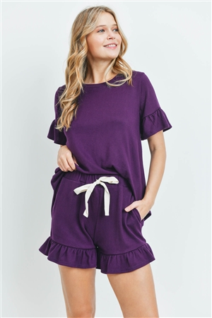 S10-18-4-PPP4035-FLPLM-1 - SOLID RUFFLE TOP AND SHORTS SET WITH SELF TIE- FALL PLUM 1-1-2