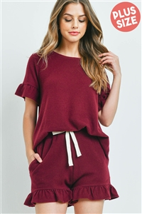 S10-2-4-PPP4035X-BU - PLUS SIZE SOLID RUFFLE TOP AND SHORTS SET WITH SELF TIE- BURGUNDY 3-2-1
