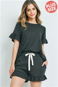 S10-7-2-PPP4035X-CHL2T - PLUS SIZE SOLID RUFFLE TOP AND SHORTS SET WITH SELF TIE- CHARCOAL 2TONE 3-2-1