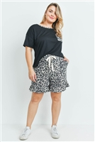 S10-19-4-PPP4036X-BKMCKHK-1 - PLUS SIZE SOLID TOP LEOPARD POCKET AND SHORTS SET WITH SELF TIE- BLACK/MOCHA/KHAKI 2-2