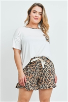 S10-19-4-PPP4036X-NVMCTP - PLUS SIZE SOLID TOP LEOPARD POCKET AND SHORTS SET WITH SELF TIE- IVORY/MOCHA/TAUPE 3-2-1
