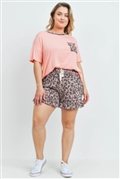 S10-19-4-PPP4036X-LTPCHBWNRS-1 - PLUS SIZE SOLID TOP LEOPARD POCKET AND SHORTS SET WITH SELF TIE- LIGHT PEACH/BROWN/ROSE 3-1-1