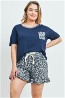S10-19-4-PPP4036X-NVCHLGY-1 - PLUS SIZE SOLID TOP LEOPARD POCKET AND SHORTS SET WITH SELF TIE- NAVY/CHARCOAL/GREY 3-1-1