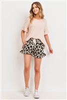S9-15-1-PPP4037-NDGY-1 - RUFFLE SLEEVES SOLID TOP AND LEOPARD SHORTS SET WITH SELF TIE- NUDE/GREY 1-2-2