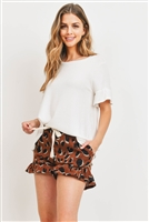 S9-15-1-PPP4037-OFWTBWN-1 - RUFFLE SLEEVES SOLID TOP AND LEOPARD SHORTS SET WITH SELF TIE- OFF-WHITE/BROWN 2-1-2