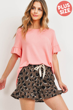 S15-11-5-PPP4037X-BBCLKHK-1 - PLUS SIZE RUFFLE SLEEVES SOLID TOP AND LEOPARD SHORTS SET WITH SELF TIE- BABY CORAL/KHAKI 2-2-1