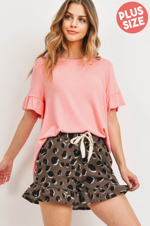 S12-2-4-PPP4037X-BBCLKHK - PLUS SIZE RUFFLE SLEEVES SOLID TOP AND LEOPARD SHORTS SET WITH SELF TIE- BABY CORAL/KHAKI 3-2-1