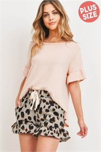 S12-2-4-PPP4037X-NDGY - PLUS SIZE RUFFLE SLEEVES SOLID TOP AND LEOPARD SHORTS SET WITH SELF TIE- NUDE/GREY 3-2-1