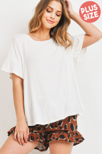 S12-2-4-PPP4037X-OFWBWN - PLUS SIZE RUFFLE SLEEVES SOLID TOP AND LEOPARD SHORTS SET WITH SELF TIE- OFF-WHITE/BROWN 3-2-1