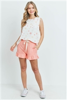 S15-7-3-PPP4039-OFWLTPCH-1 - STAR PRINT TANK TOP AND SHORTS SET WITH SELF TIE- OFF-WHITE COMBO/LIGHT PEACH 1-2