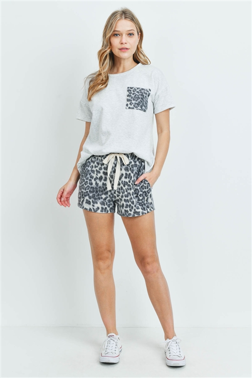 S10-16-3-PPP4040-LTGYGY - FRENCH TERRY BRUSHED LEOPARD HACCI POCKET TOP AND FLEECED SHORTS SET WITH SELF TIE- LIGHT HEATHER GREY/GREY 1-2-2-2