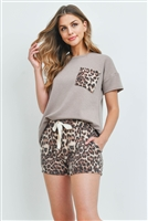 S14-7-4-PPP4040-MCBWN-1 - FRENCH TERRY BRUSHED LEOPARD HACCI POCKET TOP AND FLEECED SHORTS SET WITH SELF TIE- MOCHA/BROWN 1-2-2