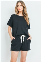 S13-6-3-PPP4041-BK - FLEECED FRENCH TERRY TOP AND SHORTS SET WITH SELF TIE- BLACK 1-2-2-2