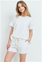 S14-3-1-PPP4041-IV - FLEECED FRENCH TERRY TOP AND SHORTS SET WITH SELF TIE- IVORY 1-2-2-2