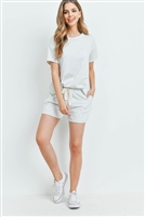 S13-12-4-PPP4041-LTHG - FLEECED FRENCH TERRY TOP AND SHORTS SET WITH SELF TIE- LIGHT HEATHER GREY 1-2-2-2