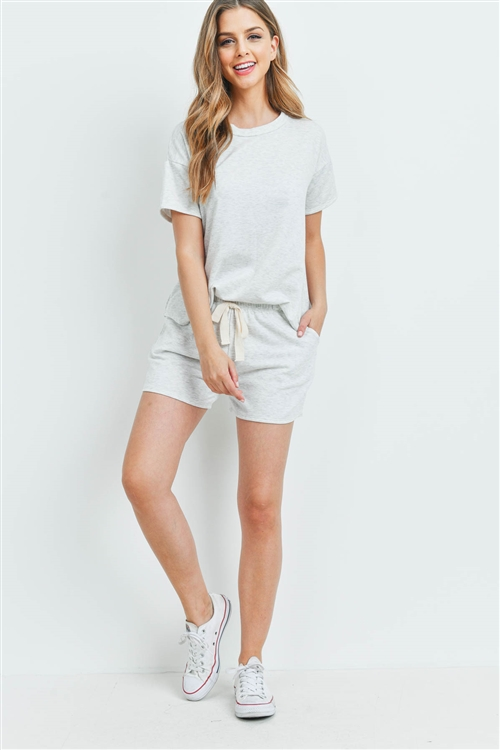 S15-10-3-PPP4041-LTHG-1 - FLEECED FRENCH TERRY TOP AND SHORTS SET WITH SELF TIE- LIGHT HEATHER GREY 3-2