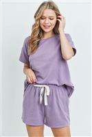 S15-10-3-PPP4041-LVD-1 - FLEECED FRENCH TERRY TOP AND SHORTS SET WITH SELF TIE- LAVENDER 1-2-2