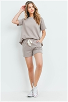 S13-6-4-PPP4041-MC - FLEECED FRENCH TERRY TOP AND SHORTS SET WITH SELF TIE- MOCHA 1-2-2-2