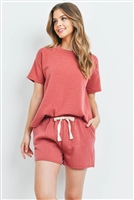 S13-12-4-PPP4041-MRSL - FLEECED FRENCH TERRY TOP AND SHORTS SET WITH SELF TIE- MARSALA 1-2-2-2