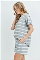 S11-17-1-PPP4042-HGWT - SHORT SLEEVES STRIPED TOP AND SHORTS SET WITH SELF TIE- HEATHER GREY/WHITE 1-2-2-2