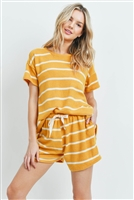 S11-15-2-PPP4042-MUWT - SHORT SLEEVES STRIPED TOP AND SHORTS SET WITH SELF TIE- MUSTARD/WHITE 1-2-2-2