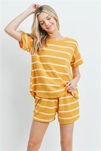 S8-14-3-PPP4042-MUWT-2 - SHORT SLEEVES STRIPED TOP AND SHORTS SET WITH SELF TIE- MUSTARD/WHITE 1-1-1