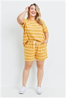 S7-3-3-PPP4042X-MUWT - PLUS SIZE STRIPE SHORT SLEEVES TOP AND SHORTS SET WITH SELF TIE- MUSTARD/WHITE 3-2-1