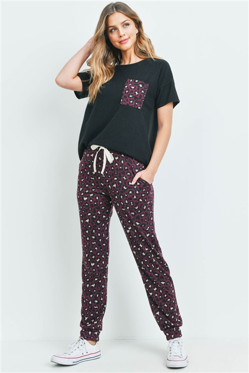S4-3-4- PPP4045-BKBU - BRUSHED HACCI TOP AND LEOPARD BOTTOM SET WITH SELF TIE- BLACK/BURGUNDY 1-2-2-2
