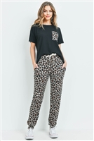 S9-20-3-PPP4045-BKBWN-1 - BRUSHED HACCI TOP AND LEOPARD BOTTOM SET WITH SELF TIE- BLACK/BROWN 1-1-2-2