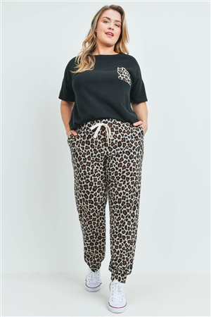 S11-15-2-PPP4045X-BKBWN - PLUS SIZE BRUSHED HACCI TOP AND LEOPARD BOTTOM SET WITH SELF TIE- BLACK/BROWN 3-2-1
