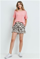 S15-12-5-PPP4047-BBCLTPBW-1 - RIB DETAIL TOP AND LEOPARD RUFFLE HEM SHORTS SET WITH SELF TIE- BABY CORAL/TAUPE/BROWN 2-2-1