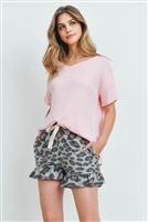 S15-12-5-PPP4047-BBPKGYBK-1 - RIB DETAIL TOP AND LEOPARD RUFFLE HEM SHORTS SET WITH SELF TIE- BABY PINK/GREY/BLACK 1-2-2-1
