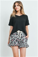 S15-12-5-PPP4047-BKGYBK-1 - RIB DETAIL TOP AND LEOPARD RUFFLE HEM SHORTS SET WITH SELF TIE- BLACK/GREY/BLACK 1-2-2