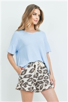 S15-12-5-PPP4047-SKBLTPBW-1 - RIB DETAIL TOP AND LEOPARD RUFFLE HEM SHORTS SET WITH SELF TIE- SKY BLUE/TAUPE/BROWN 1-1-2