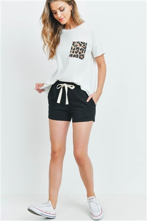 S8-14-3-PPP4048-IVBKIVTP-1 - LEOPARD POCKET TOP AND  SHORTS SET WITH SELF TIE- IVORY-BLACK/IVORY-TAUPE 1-2-2