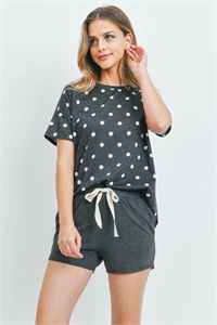 SA4-6-2-PPP4051-BKWTCHL - POLKA DOTS STRIPES TOP AND SHORTS SET WITH SELF TIE- BLACK-WHITE/CHARCOAL 1-2-2-2