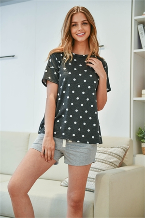 S16-12-3-PPP4051-BKWTHG-1 - POLKA DOTS STRIPES TOP AND SHORTS SET WITH SELF TIE- BLACK-WHITE/HEATHER GREY 0-2-2-2
