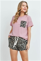 S12-7-4-PPP4052-ANTQMVTP - SOLID TOP LEOPARD POCKET  AND SHORTS SET WITH SELF TIE- ANTIQUE MAUVE/TAUPE 1-2-2-2