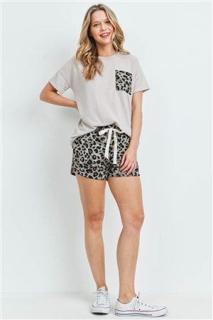 S15-12-2-PPP4052-MCTP-1 - SOLID TOP LEOPARD POCKET  AND SHORTS SET WITH SELF TIE- MOCHA/TAUPE 2-2-2