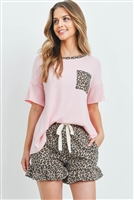 S10-20-3-PPP4053-BPKSTBK-1 - SOLID TOP LEOPARD NECKLINE POCKET  AND SHORTS SET WITH SELF TIE- BABY PINK/STONE BLACK 1-2-2