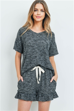 S10-17-3-PPP4054-BKCHB-1 -WAFFLE TOP AND SHORTS SET WITH SELF TIE-BLACK CHAMBRAY 1-2