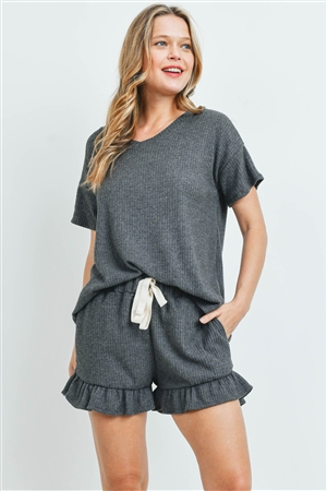 S10-17-3-PPP4054-CHL2-1 -WAFFLE TOP AND SHORTS SET WITH SELF TIE-CHARCOAL2T 2-2-1