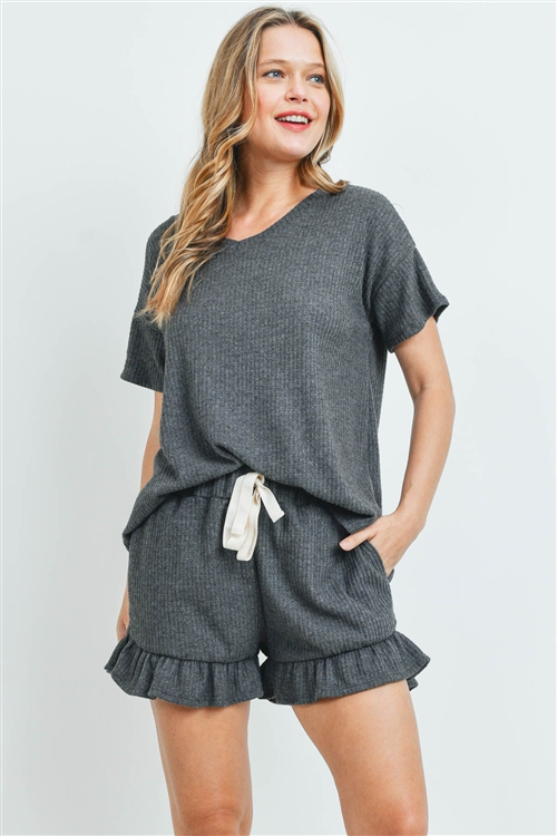 S9-2-3-PPP4054-CHL2 -WAFFLE TOP AND SHORTS SET WITH SELF TIE-CHARCOAL2T 1-2-2-2